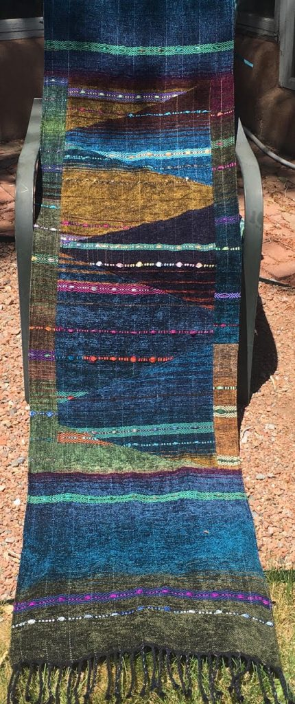 Patchwork Tapestry Chenille Shawl - blue